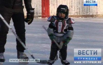 在滨海边疆区KAVALEROVO区3岁的孩子们学习打冰球