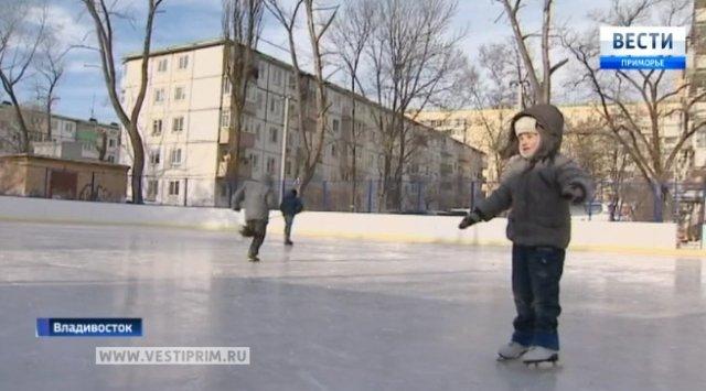 今年冬天符拉迪沃斯托克开了72个溜冰场