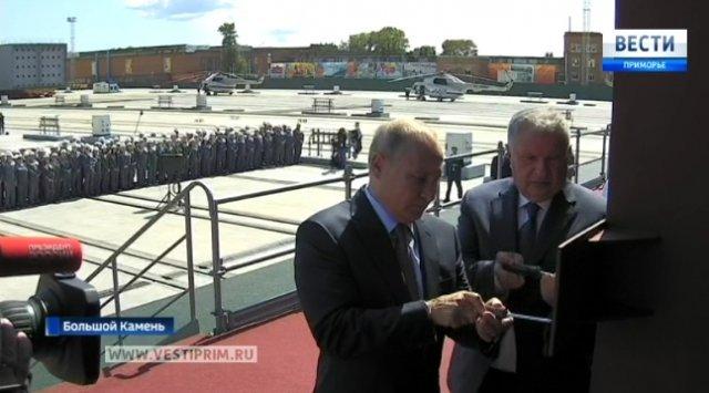 弗拉基米尔·普京参加了在《明星》船厂铺设Aframax型油轮的仪式